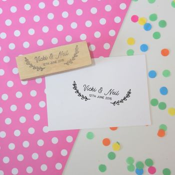 Personalised Laurel Wedding Favour Stamp