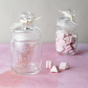 Personalised Jar Of Heart Shaped Marshmallows - marshmallows