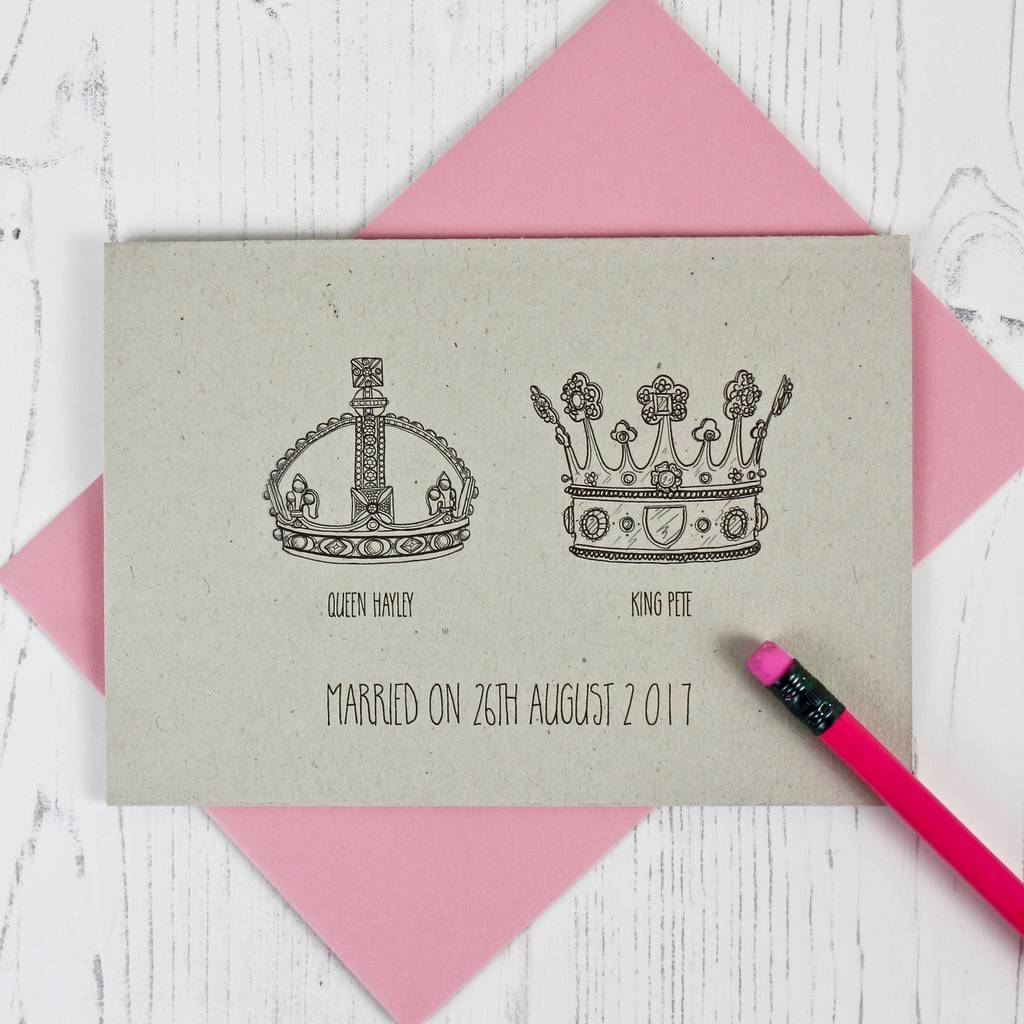 crown themed wedding and anniversary card by adam regester design ...