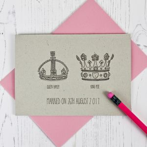 Crown Themed Wedding And Anniversary Card