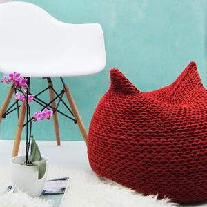 Hand Knitted Plum Bean Bag
