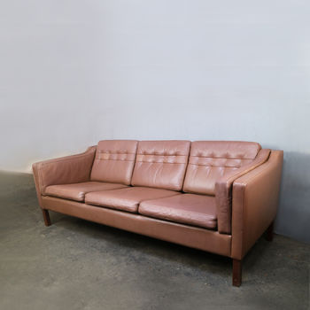 Danish 1970's Mid Century Leather Three Seat Sofa