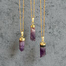 Amethyst Cylinder Pendant Necklace