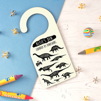 Children's Personalised Dinosaur Door Hanger