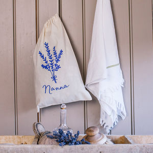 Personalised Lavender Drawstring Bag