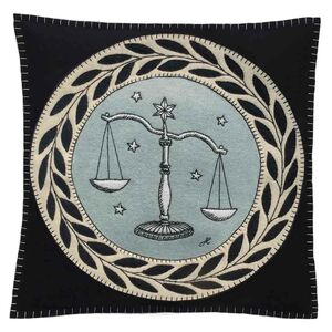Hand Embroidered Libra Zodiac Cushion