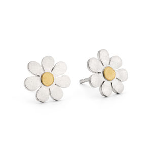 Forget Me Not Earrings In Silver And 18ct Gold