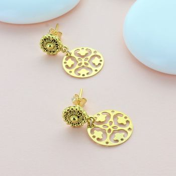 Gold Ornate Disc Earrings