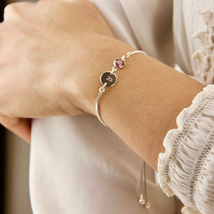 Sterling Silver Birthstone Initial Sliding Bracelet - new in womens jewellery