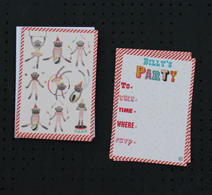 12 Child's Party Invites Monkey Design