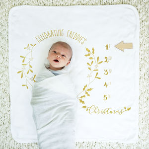 Personalised Baby Milestone Botanical Christmas Blanket - baby care