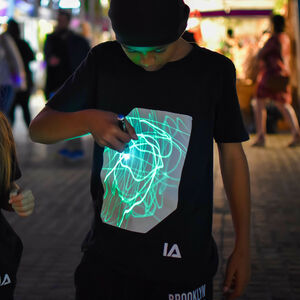 Childrens Interactive Green Glow Tshirt In Black