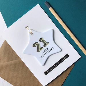 21st Birthday Card With Ceramic Star Ornament Keepsake