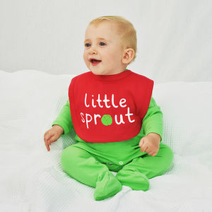 'Little Sprout' Baby Christmas Bib - baby's first christmas