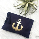 Navy Blue Nautical Make Up Bag With Gold Anchor Print