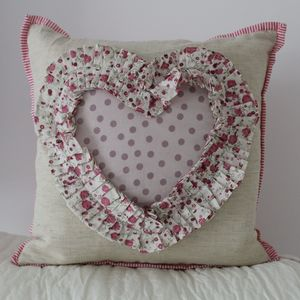 Wedding/Engagement Lavender Spot Heart Cushion Cover - cushions