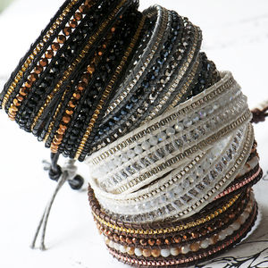 Two Wrap Bracelet With Three Rows Of Faceted Beads
