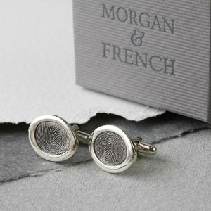 Inked Oval Fingerprint Cufflinks - new in mens jewellery