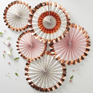 Ditsy Floral Rose Gold Foiled Pin Wheel Fan Decorations