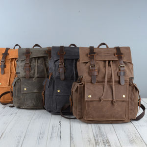 Vintage Style Waxed Canvas Backpack - womens