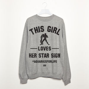 This Girl Loves Her Star Sign Women's Slogan Sweatshirt - women's fashion