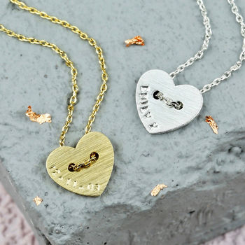 Personalised Button Heart Necklace