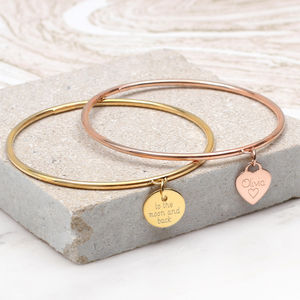 Gold Personalised Heart Or Disc Charm Bangle - bracelets & bangles