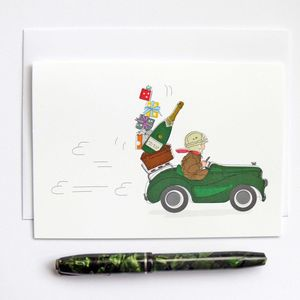 Racing Pedal Car With Gifts And Champagne Greeting Card