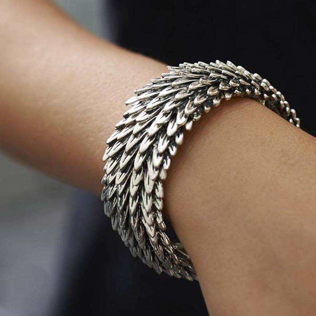 Chunky Metal Feather Bracelet