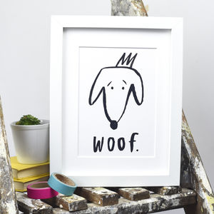 'Woof' Dog Print - posters & prints