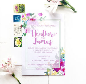 Watercolour Floral Evening Wedding Invitation - invitations