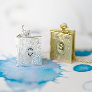Personalised Mini Book Locket Initial Necklace