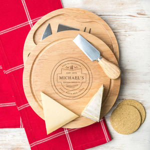 Personalised Vintage Cheese Board And Knife Set - personalised