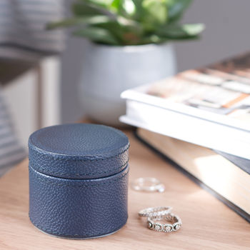 Personalised Ladies Leather Ring Box Ink Blue