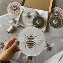 Beaded Bee Illustrated Hoop