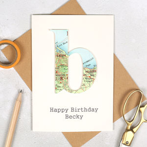 Personalised Map Letter Birthday Card - birthday cards
