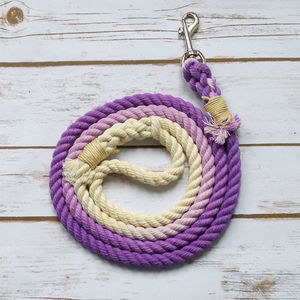 Hand Dyed Rope Dog Lead With Natural Handle