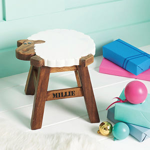 Personalised Wooden Sheep Stool - children's room