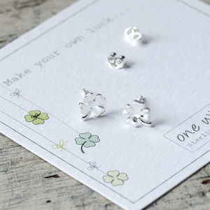 Lucky Clover Silver Gold Or Rose Gold Stud Earrings