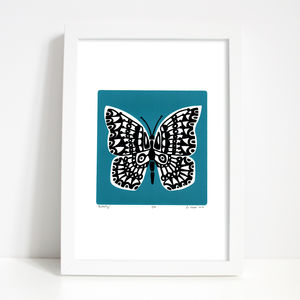 'Butterfly' Print In Slate Teal