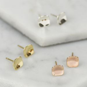 Handmade Solid Gold Concave Square Stud Earrings