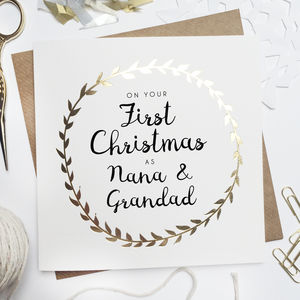 'First Christmas As Grandparents' Foiled Card - what's new