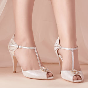 Sofia Silver Metallic Suede Wedding Shoes - shoes