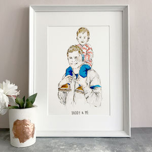 'Daddy & Me' Hand Drawn Illustration - limited edition art