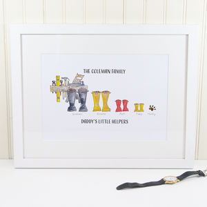 Father's Day Personalised Welly Boot Print - posters & prints