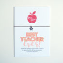 'Best Teacher' Personalised Card And Wish Bracelet