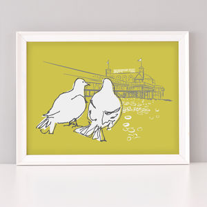 Brighton Pigeons Art Print - animals & wildlife