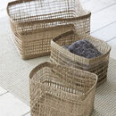 Set Of Three Mixed Weave Storage Baskets