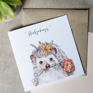 Watercolour Hedgehog Card