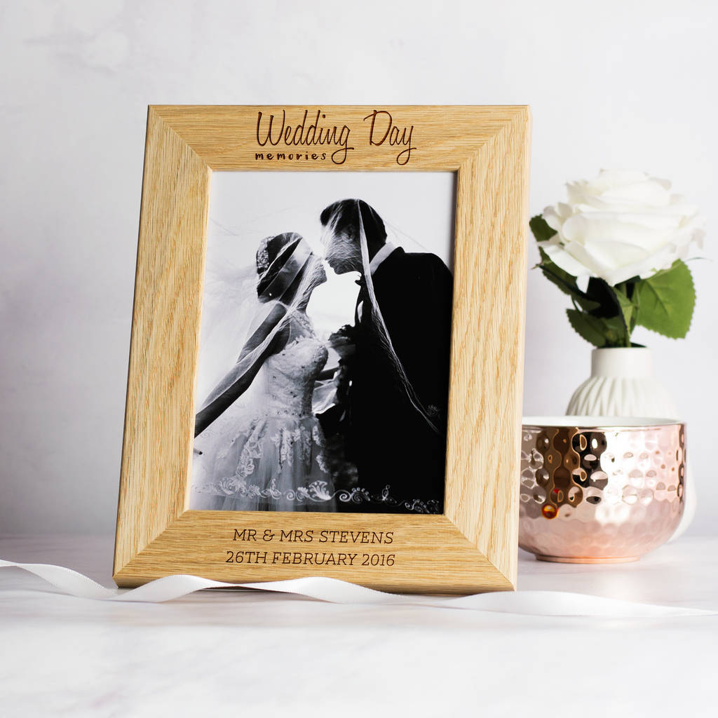 Wedding Day Solid Oak Personalised Picture Frame